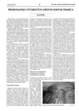 P. Bella: Problematika vývojových úrovní jaskyne Domica