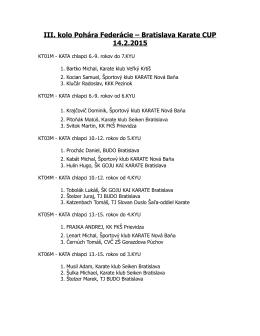 III. kolo Pohára Federácie – Bratislava Karate CUP 14.2.2015