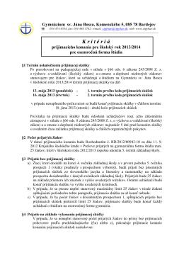 Kritériá prijímacieho konania pre šk. rok 2013/14