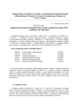 Spojená škola, Chemikov 8, Nováky s organizačnými zložkami
