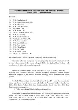 Zápisnica- Zasadnutia Súdnej rady Slovenskej republiky