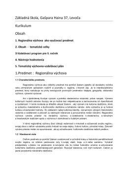 Regionálna výchova - Základná škola Gašpara Haina Levoča