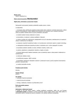 Inzerát stavbyvedúci - Vodohospodárske stavby Ba