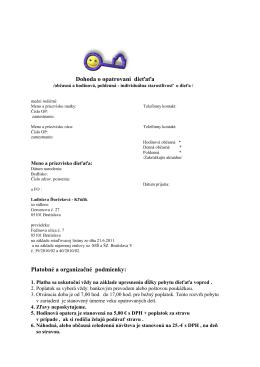 Dohoda o opatrovaní /občasná a hodinová/