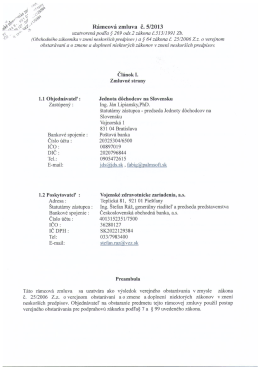 Rámcová zmluva Vojenské zdravotnícke zariadenia