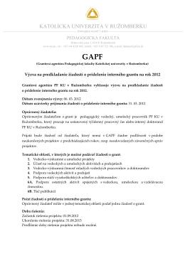 Výzva na podanie žiadosti GAPF 2012