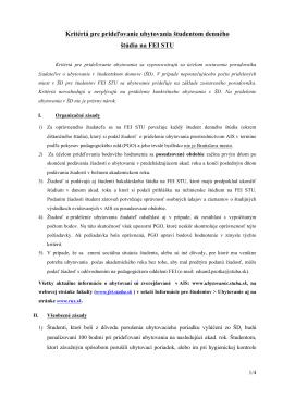 Kritériá pre prideľovanie ubytovania študentom