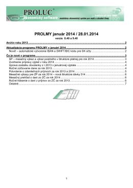 Aktualizácia programu PROLMY v januári 2014