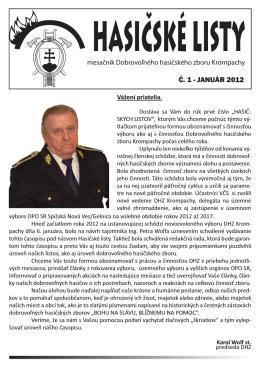 HASIČSKÉ LISTY - Dobrovoľný hasičský zbor Krompachy