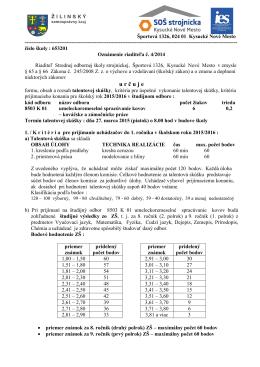 Kritéria prijímacieho konania pre školský rok 2015/2016