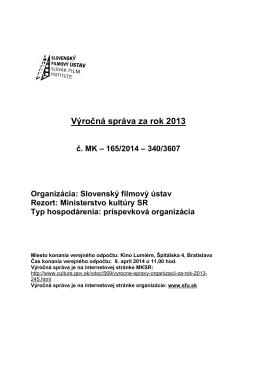 Výročná správa za rok 2013 - Ministerstvo kultúry SR