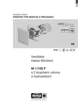 Ventilátor Helios MiniVent M 1/100 F s 2 stupňami výkonu a