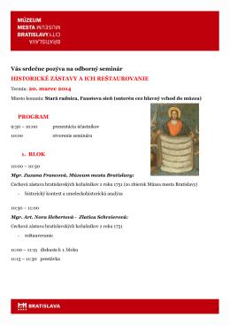 ZAJTRA NEROBIME - Múzeum mesta Bratislavy