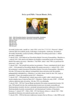 Dr.h.c prof.PhDr. Vincent Blanár, DrSc.