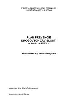 Plán prevencie drogových závislosti 2013-2014