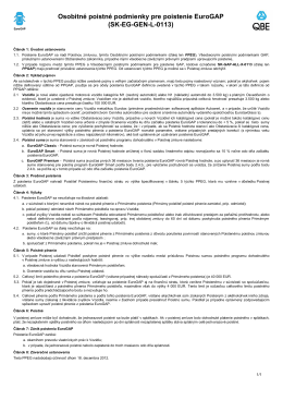 Osobitné poistné podmienky pre poistenie EuroGAP (SK-EG-GEN