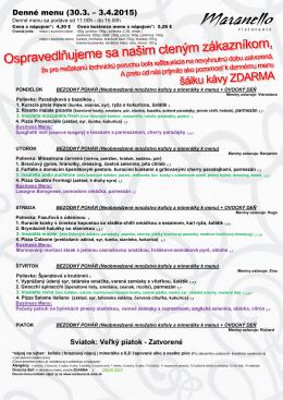 Denné menu (30.3. – 3. 3.4.2015)