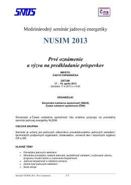 NUSIM 2013 Prvé oznámenie a výzva na predkladanie príspevkov