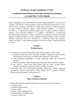 Všeobecne záväzné nariadenie č.1/2013 o