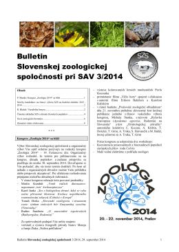 2014/3 - Slovenská zoologická spoločnosť pri SAV