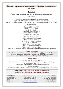 Školiace a konzultačné stredisko NDT pre netesnosti Piešťany