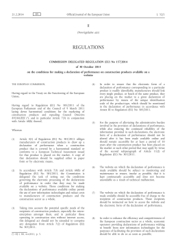 Delegated Regulation (EU) No 157/2014 of 30 October 2013