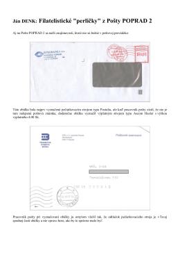 "Ján DENK: Filatelistické ""perličky"" z Pošty POPRAD 2"