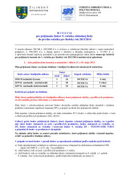 kritériá prijatia žiakov 9. ročníka pre školský rok 2013