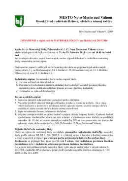 Zápis detí do MŠ pre šk.r. 2015/2016