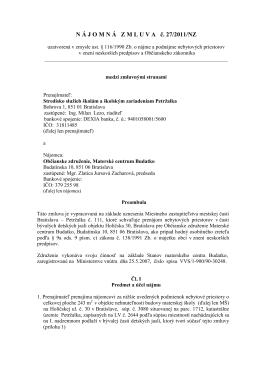 Nájomná zmluva - Stredisko služieb školám a školským zariadeniam