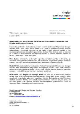 Presseinfo mit Logo (grau) - Ringier Axel Springer Slovakia