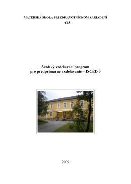 Školský vzdelávací program pre predprimárne vzdelávanie – ISCED 0