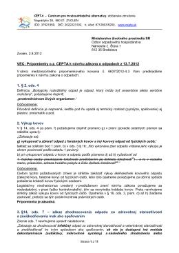 Kompletné pripomienky o.z. CEPTA k návrhu zákona o odpadoch