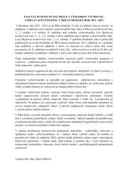 Plán práce ŠKD 2014