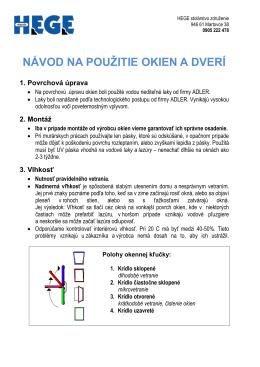 Návod na používanie okien (PDF)