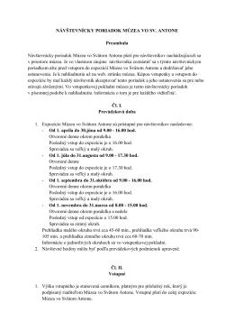 NÁVŠTEVNÍCKY PORIADOK MÚZEA VO SV. ANTONE Preambula