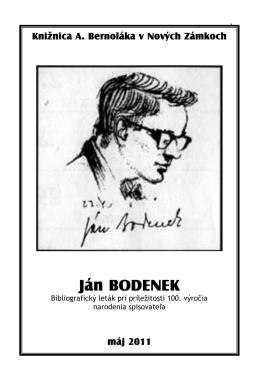 Ján Bodenek - Knižnica Antona Bernoláka