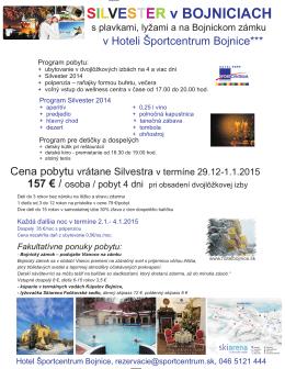 silvester 2014 - Hotel Športcentrum Bojnice
