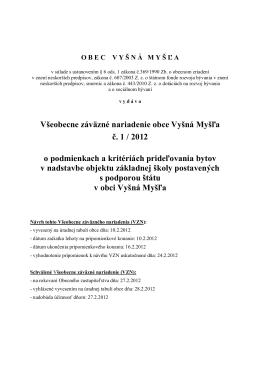 Všeobecne záväzné nariadenie č. 1/2012 o podmienkach