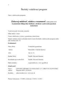 Školský vzdelávací program - Evanjelické gymnázium Banská Bystrica