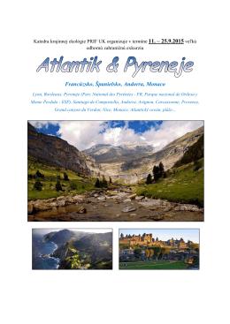 Itinerár exkurzie - Katedra krajinnej ekológie