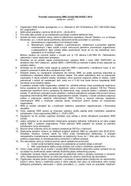 Pravidlá vedomostnej SMS súťaže MS-HOKEJ 2014