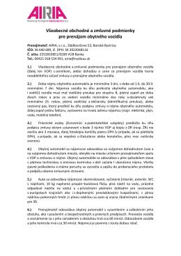 všeobecné obchodné podmienky - AIRIA ::.. prenájom karavanov