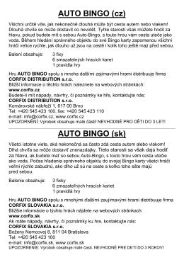 """Pravidla hry """"Auto-Bingo - hra v plechové krabičce"""""""