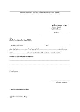 (meno a priezvisko, bydlisko zákonného zástupcu, tel