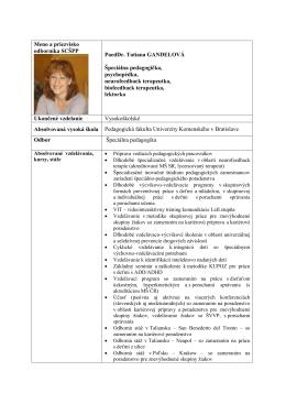 Meno a priezvisko odborníka SCŠPP PaedDr