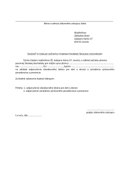 Meno a adresa zákonného zástupcu žiaka Riaditeľstvo Základná