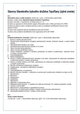 Stavebné bytové družstvo Topoľčany –STANOVY 2013 1 čl.1