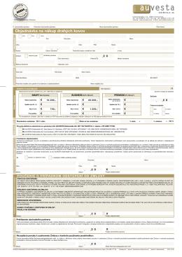 Objednávka na nákup drahých kovov