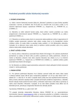 Podrobné pravidlá súťaže Stávkarský maratón